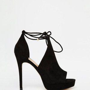 Aldo Black Ankle Lace Up Heeled Sandals